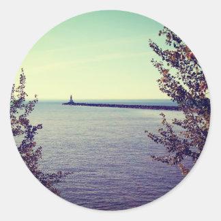 Lake Superior Break Wall Round Sticker