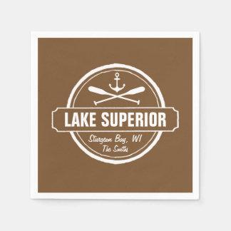 Lake Superior, custom town, name, anchor, paddles Paper Napkin
