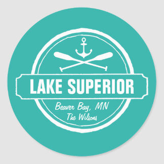 Lake Superior, custom town, name, anchor, paddles Round Sticker