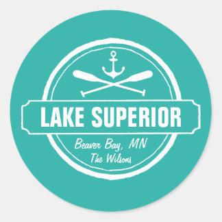 Lake Superior, custom town, name, anchor, paddles Round Sticker