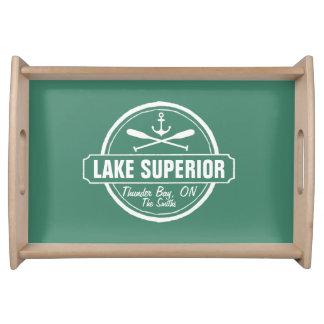 Lake Superior, custom town, name, anchor, paddles Serving Tray