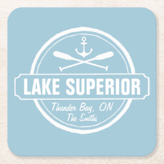 Lake Superior, custom town, name, anchor, paddles Square Paper Coaster
