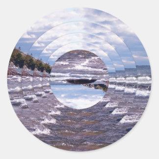 Lake Superior Island Waves Round Sticker