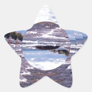 Lake Superior Island Waves Star Sticker