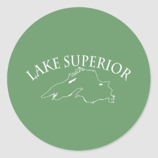 Lake Superior Map Classic Round Sticker
