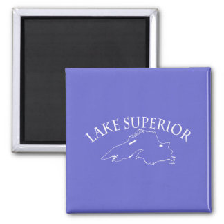 Lake Superior Map Square Magnet