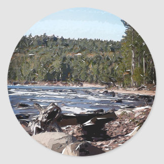 Lake Superior Shoreline Abstract Round Sticker