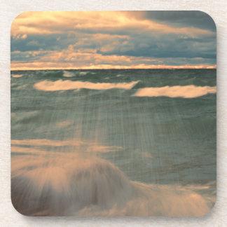 Lake Superior - Stormy Sunset Beverage Coaster