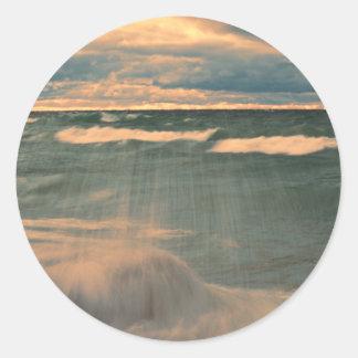 Lake Superior - Stormy Sunset Round Sticker