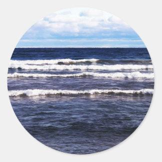 Lake Superior White Caps Round Sticker