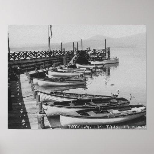Lake Tahoe, CA - Wooden Boats along Dock Photo Poster