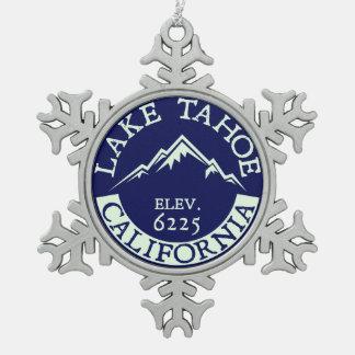 Lake Tahoe California Skiing Snowboarding Ski Snowflake Pewter Christmas Ornament