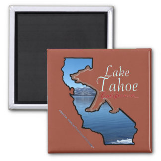 Lake Tahoe California state outline bear magnet