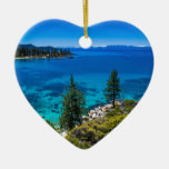 Lake Tahoe Double-Sided Heart Ceramic Christmas Ornament