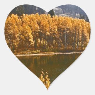 Lake Tahoe in the Fall / Winter Landscape Heart Sticker