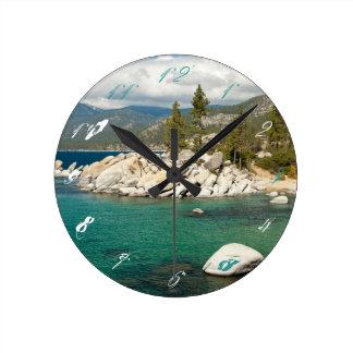Lake Tahoe Landscape Round Clock