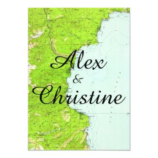 Lake Tahoe Map Wedding Invitation