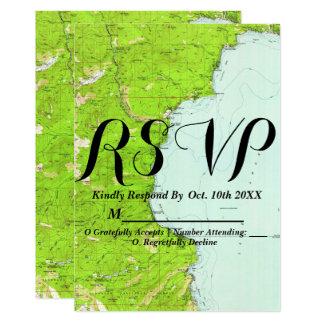 Lake Tahoe Map Wedding RSVP Card