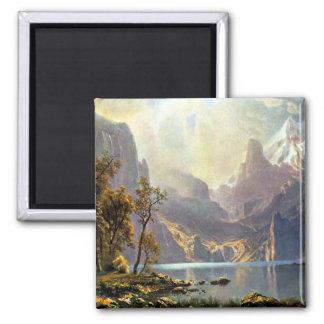 Lake Tahoe painting Nevada art by Albert Bierstadt Square Magnet