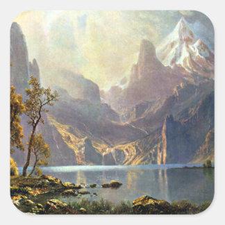 Lake Tahoe painting Nevada art by Albert Bierstadt Square Sticker