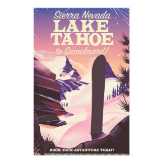 Lake Tahoe Sierra Nevada USA Snowboarding poster Stationery