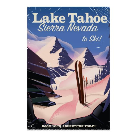 Lake Tahoe sierra nevada vintage ski poster