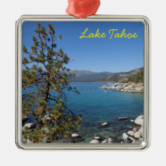Lake Tahoe Silver-Colored Square Decoration