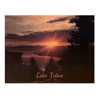 Lake Tahoe Sunrise Vintage Postcard