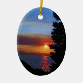 Lake Tahoe Sunset Christmas Ornament