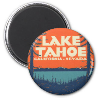 Lake Tahoe Vintage Travel Decal Design 6 Cm Round Magnet