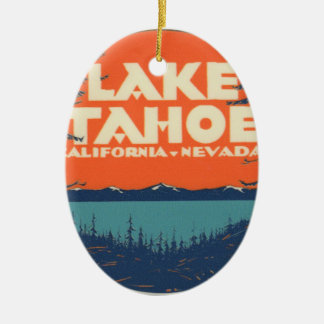 Lake Tahoe Vintage Travel Decal Design Ceramic Oval Decoration