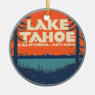 Lake Tahoe Vintage Travel Decal Design Christmas Ornament