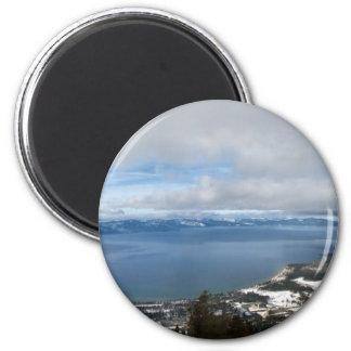Lake Tahoe Winter Panorama 6 Cm Round Magnet