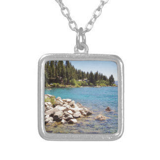 Lake Tahoe's clear waters with snowy mountains Square Pendant Necklace