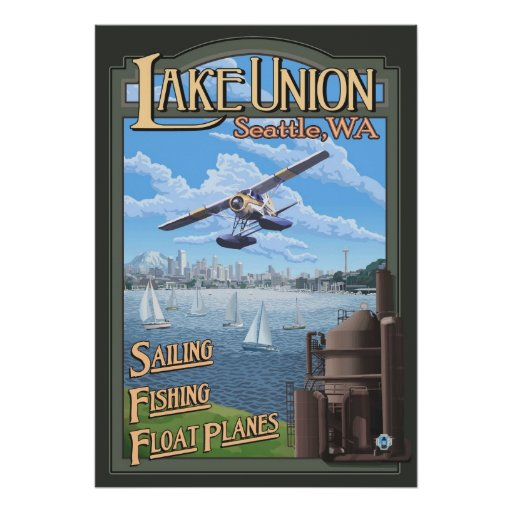 Lake Union Float Plane - Seattle, WA Travel Poster