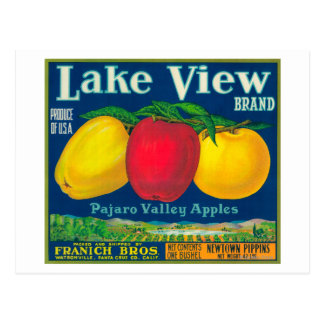 Lake View Apple Label - Watsonville, CA Postcard