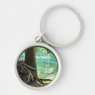 Lake View Silver-Colored Round Key Ring