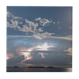 Lake View Lightning Show Small Square Tile