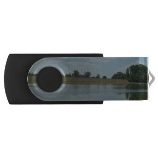 Lake Water Reflects the skies Fluffy White Clouds Swivel USB 2.0 Flash Drive