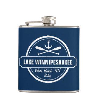 Lake Winnipesaukee NH custom town, name, anchor Flask