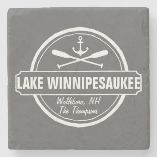 Lake Winnipesaukee NH custom town, name, anchor Stone Coaster