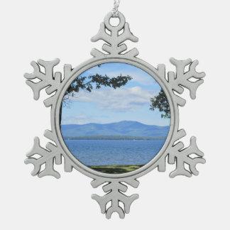 Lake Winnipesaukee Snowflake Pewter Christmas Ornament