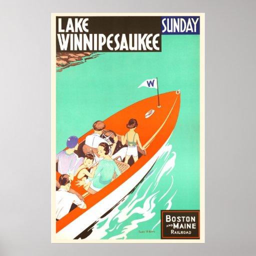 Lake Winnipesaukee Sunday Boating Poster