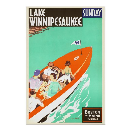 Lake Winnipesaukee Sunday Boating Poster