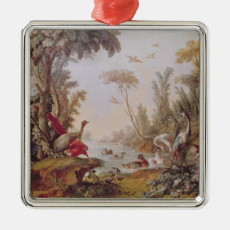 Lake with geese, storks, parrots and herons christmas ornament