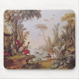 Lake with geese, storks, parrots and herons mouse mat