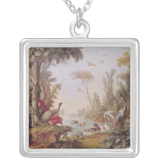 Lake with geese, storks, parrots and herons silver plated necklace