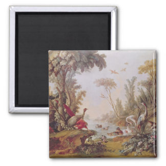 Lake with geese, storks, parrots and herons square magnet