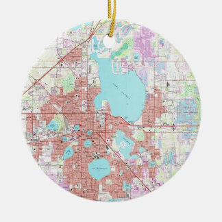 Lakeland Florida Map (1975) Christmas Ornament