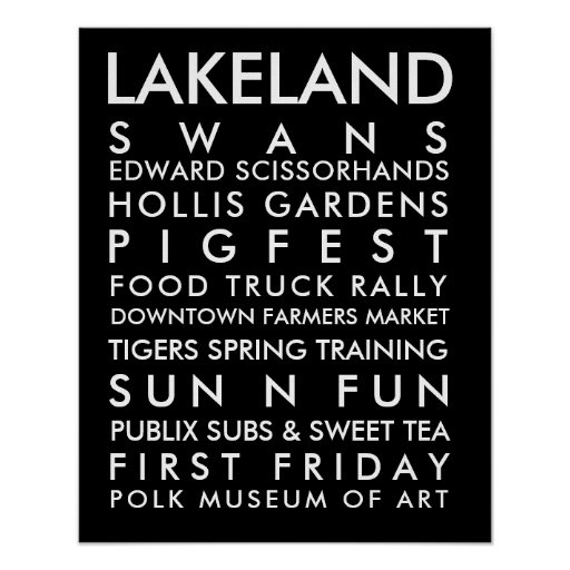 Lakeland history 16x20 white text poster